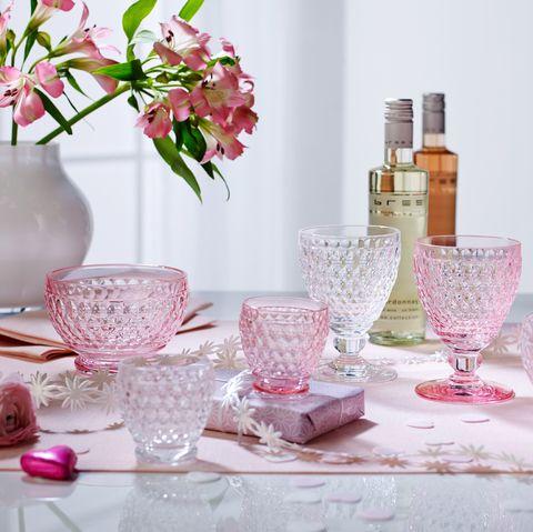 Vaso de cristal rosa de estilo vintage en Amazon