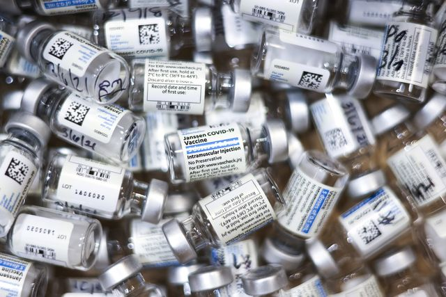 thornton, co   march 06 used vials of the johnson  johnson covid 19 vaccine, the newest vaccine approved by the us fda for emergency use, sit in a box at an event put on by the thornton fire department on march 6, 2021 in thornton, colorado colorado entered covid vaccination phase 1b3 on friday, allowing essential grocery and agriculture workers, people over the age of 60 and people with two or more high risk conditions to receive a vaccine photo by michael ciaglogetty images