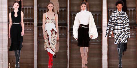 Fashion model, Fashion, Clothing, Runway, White, Haute couture, Dress, Fashion design, Fashion show, Footwear,