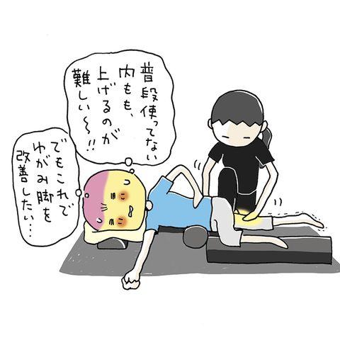 マッサージを受ける女性のイラスト。『普段使ってない内もも、上げるのが難しい~!!』『でもこれでゆがみ脚を改善したい…』と心中の声