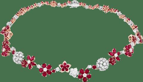 folie des prés necklace white gold, rose gold, rubies, diamonds