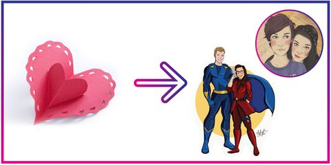 Red, Interaction, Fictional character, Cartoon, Costume design, Electric blue, Conversation, Heart, Superman, Costume,