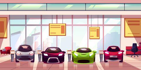 Vector car showroom background. Auto dealership showcase