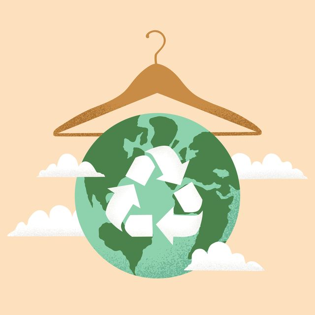 Vector illustration of Slow fashion concept with Earth planet globe, clothes hanger and Reuse, Reduce, Recycle symbol
