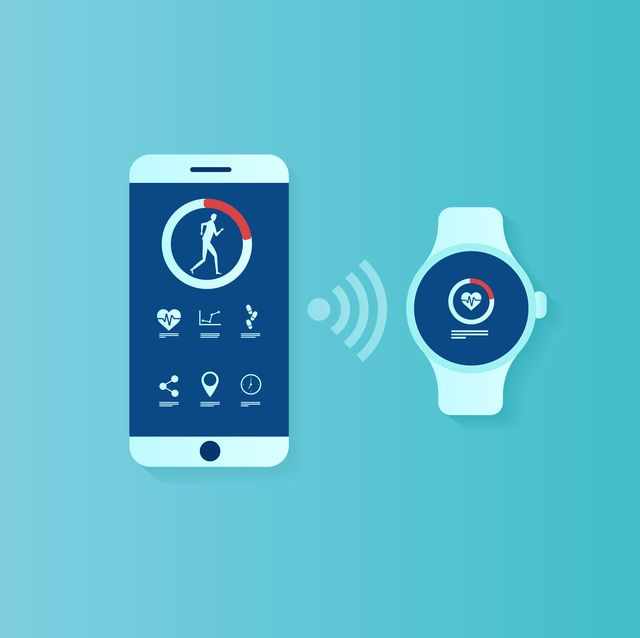Vector of user interface for smartwatch and smartphone being synchronized
