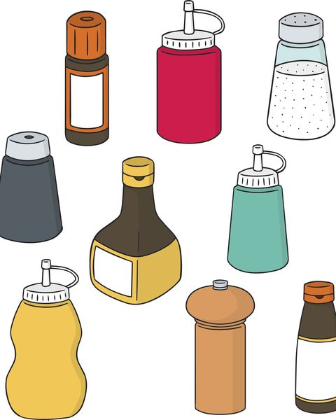 vector set of condiment bottle