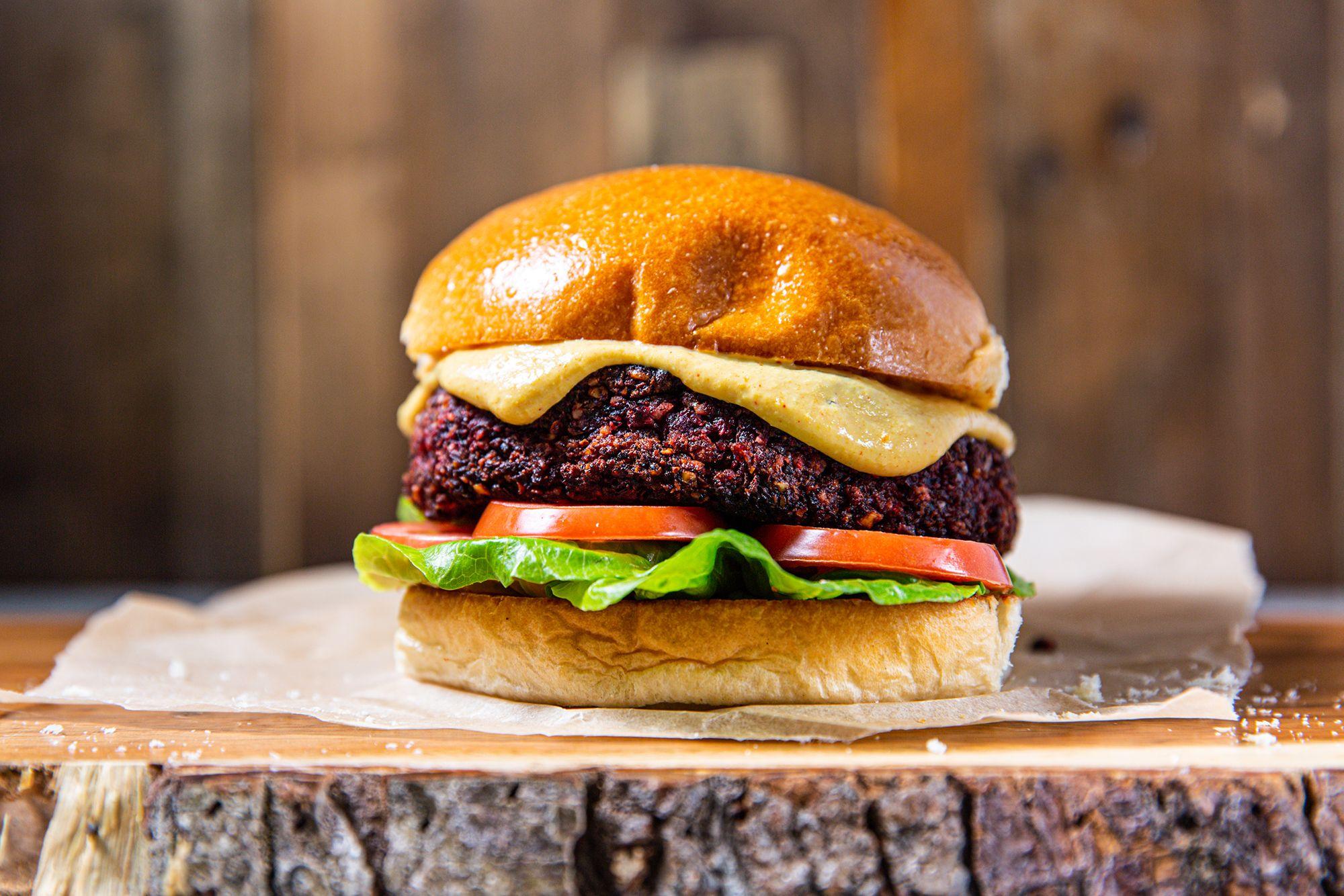 """Vegan Burger Recipe - Vegan Beetroot Burger With """"Cheese"""" Sauce"""