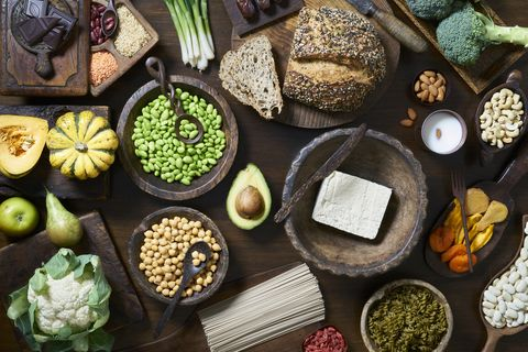 vegan food selection