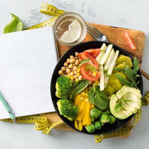 vegan healthy balanced diet vegetarian buddha bowl with blank notebook and measuring tape hickpeas broccoli pepper tomato spinach arugula and avocado in plate on white background top view