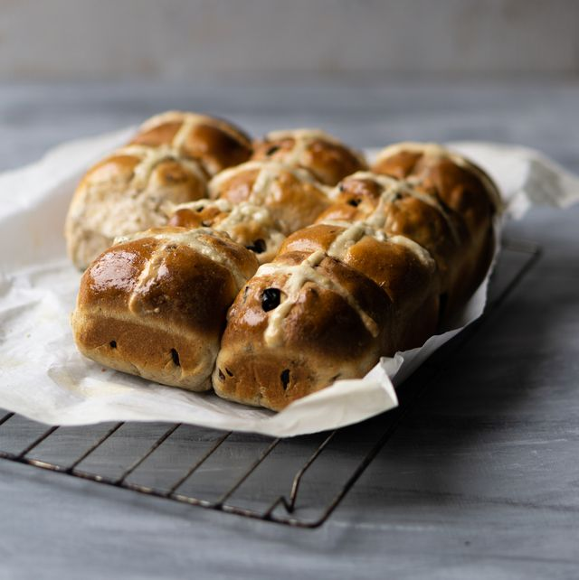 freshly baked vegan hot cross buns made at home