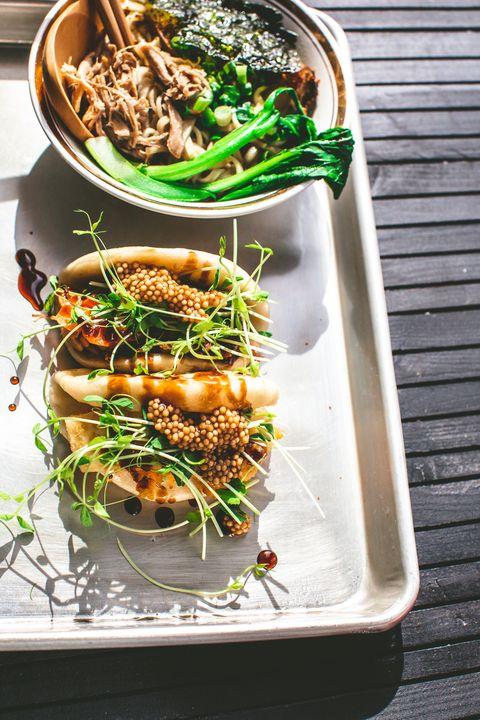 vegan steamed bao buns and ramen