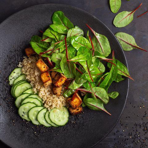 vegan tofu poke bowl with baby chard and quinoa