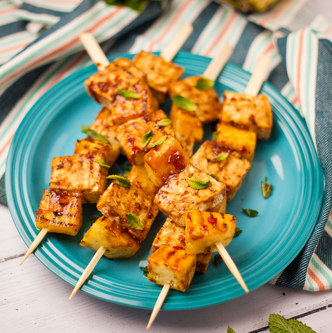 best vegetarian barbecue recipes sticky tofu and pineapple skewers