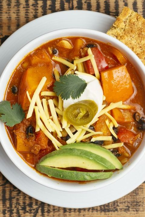 Vegan winter squash chili, served with cornbread.