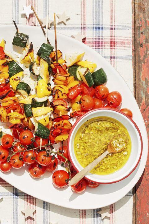 vegetable kebabs with lemon scallion vinaigrette