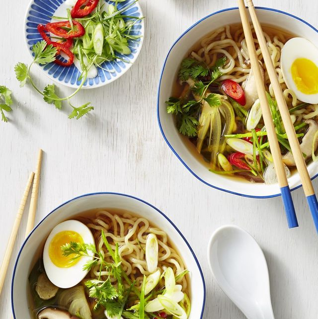 quick miso ramen with poached eggs