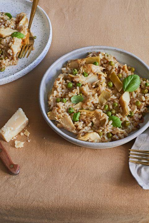 artichoke and pea risotto   vegetable risotto