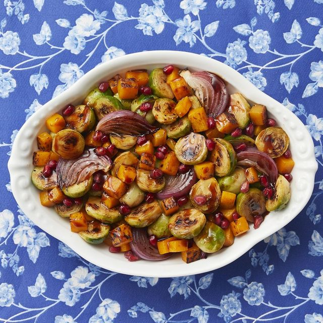 vegetable side dishes mixed roasted veggies on blue floral surface