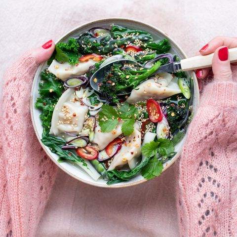 vegetable wonton and ginger broth