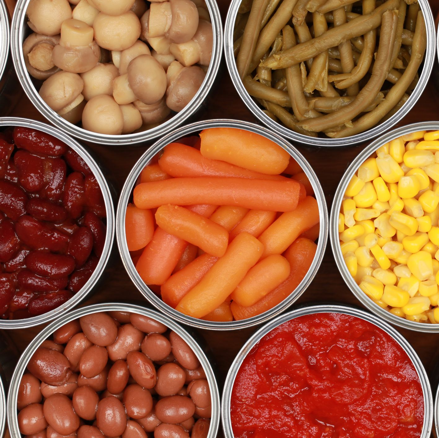 Vegetables in cans