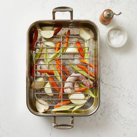 vegetables in roasting pan