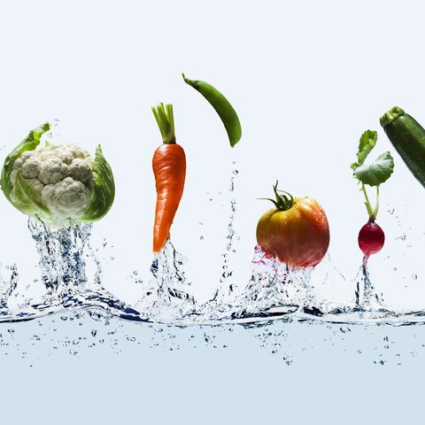 vegetables jump out from water