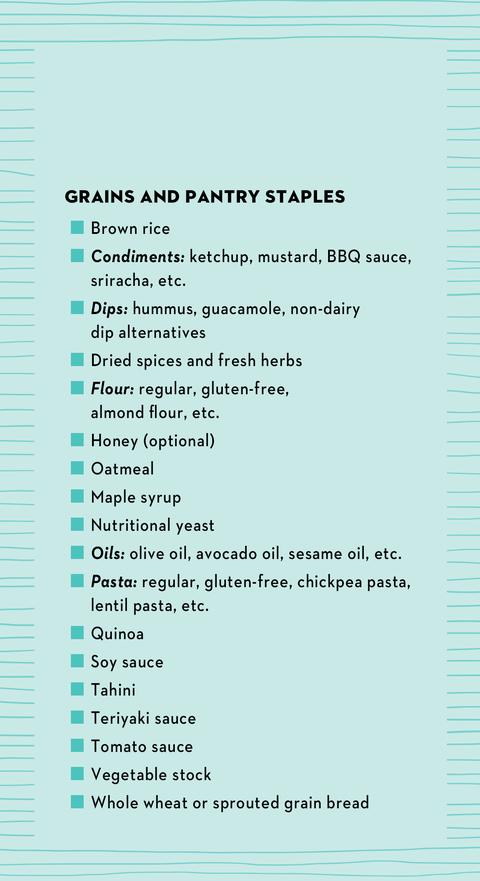 vegetarian shopping list
