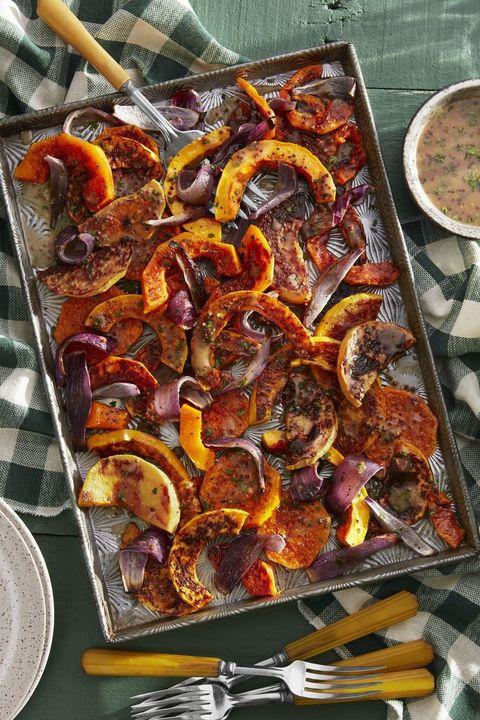 vegetarian thanksgiving roasted butternut squash with cider vinaigrette