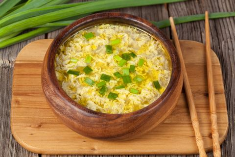 Vegetarian traditional asian drop egg soup