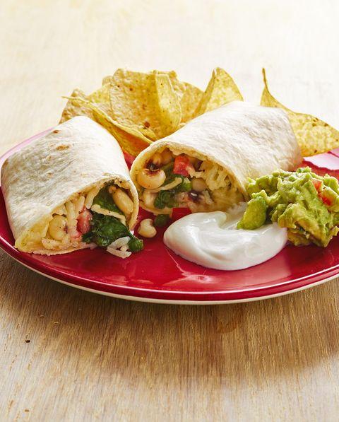 veggie burritos with black eyed peas