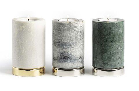 Velas: Candelabros de mármol con base cromada