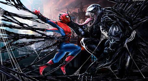 venom caza a spiderman