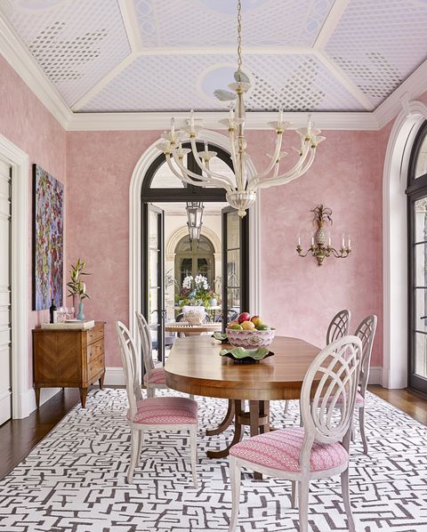 Room, Interior design, Furniture, Property, Dining room, Ceiling, Building, Table, Pink, Wall,