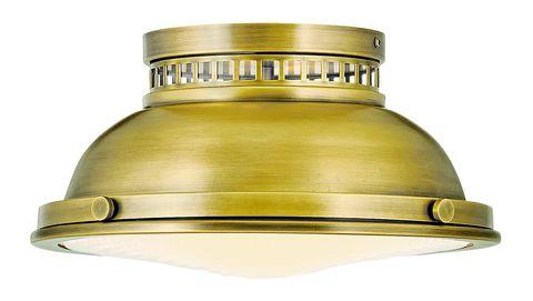 a brass flush mount ceiling light fixture