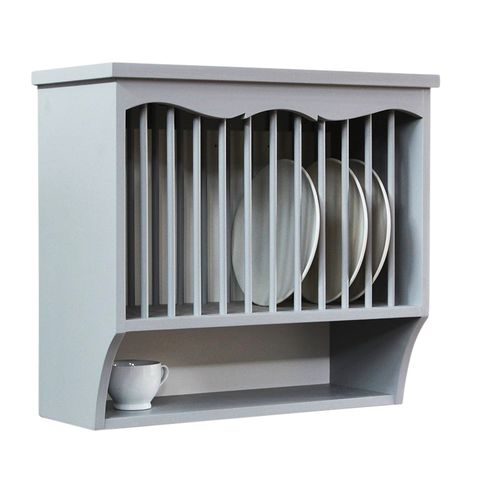 a gray blue plate rack with plates and a cup on the shelf underneath