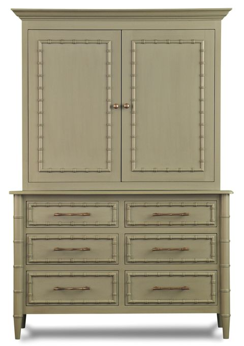 a mossy colored armoire type cabinet with drawers on the bottom and doors that open on top all with bamboo trim