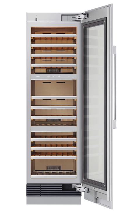 a tall slender wine cooler with the door open
