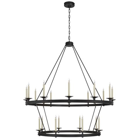 a black iron two tier chandelier with candlestick looking lights