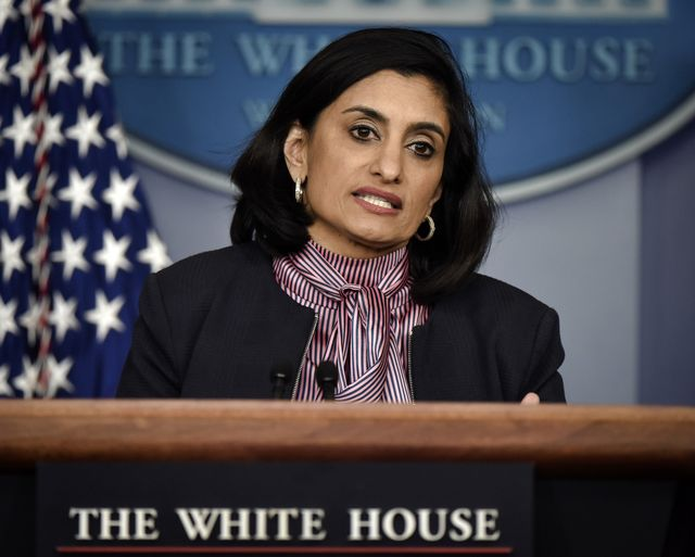 washington, dc   april 19 health advisor seema verma makes remarks as president donald trump holds a press briefing with members of the coronavirus task force in washington, dcphoto by bill o'learythe washington post via getty images