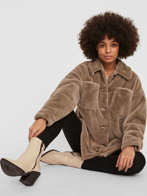 bruine zachte faux fur jas