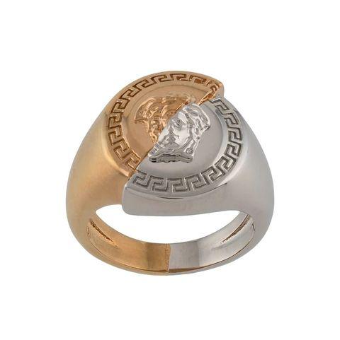 versace金銀雙色梅杜莎造型戒指