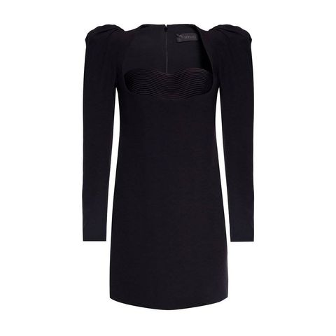 versace black puffed sleeve dress