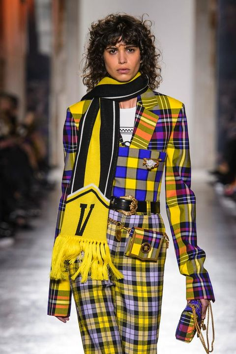 Plaid, Tartan, Fashion, Pattern, Clothing, Fashion model, Fashion show, Runway, Street fashion, Yellow,