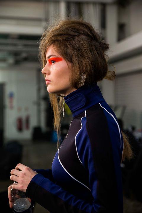 Street fashion, Electric blue, Costume, Glove, Portrait photography, Bracelet, Spandex,