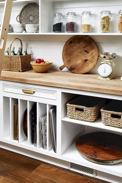 kitchen shelves, open shelving, organization