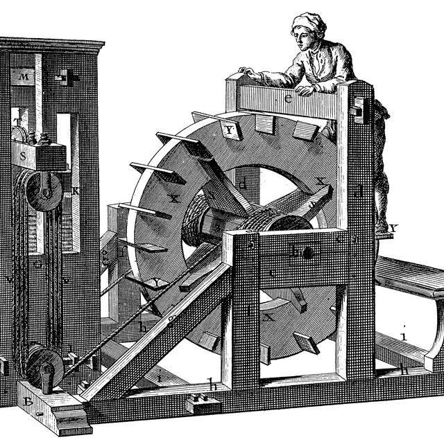 vertical treadmill 18th century engraving