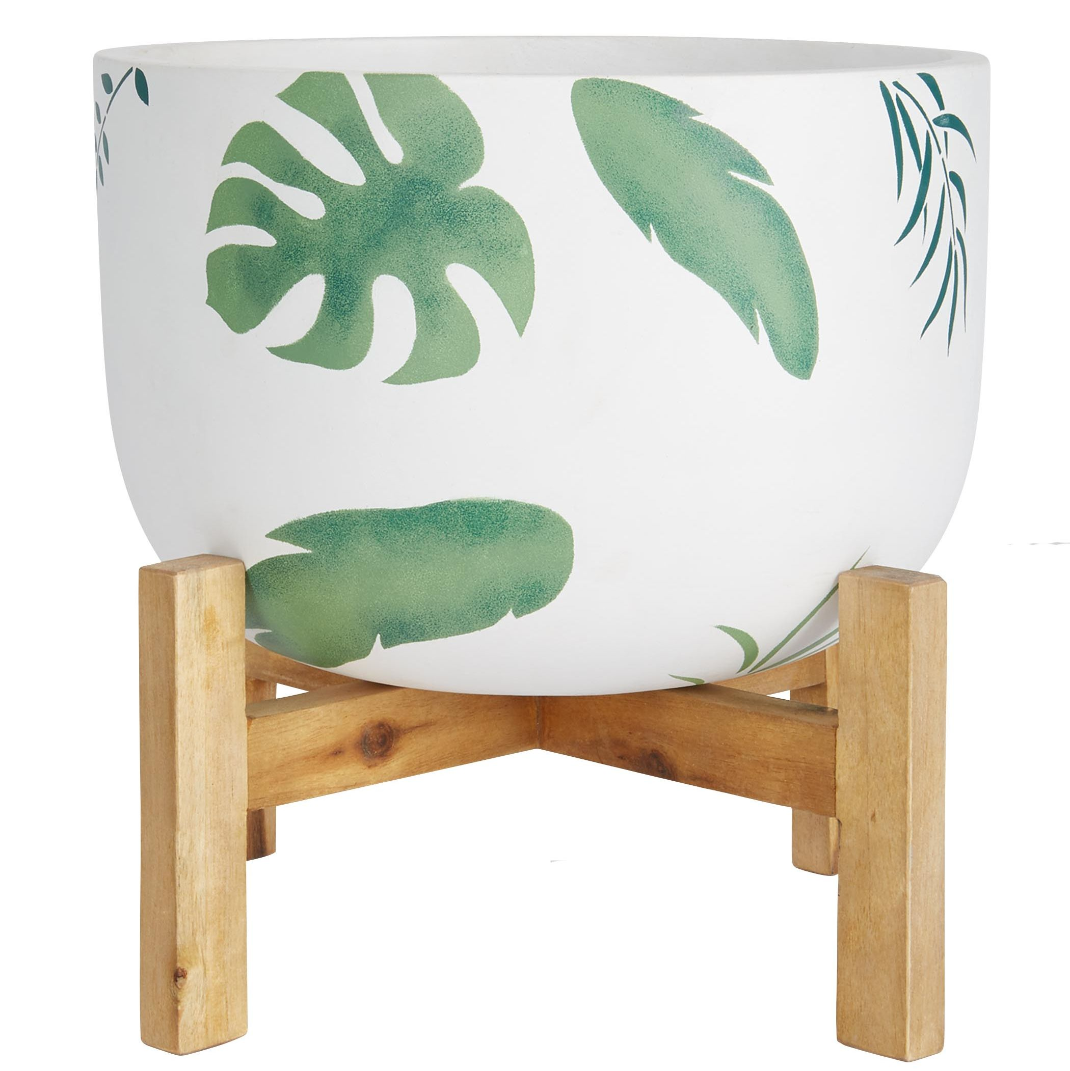 Leaf Print Pot on Wooden Legs