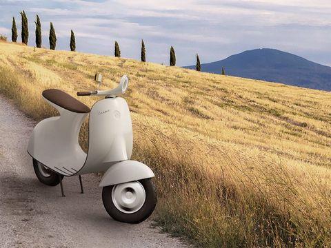 Vehicle, Mode of transport, Scooter, Automotive wheel system, Wheel, Automotive tire, Photography, Landscape, Road, Vespa,