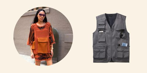 Clothing, Outerwear, Fashion, Brown, Vest, Pocket, Jacket, Footwear, Fashion design, Sleeve,