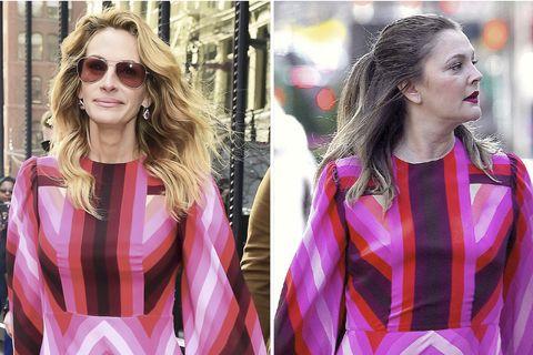 Famosas vestidas igual: Julia Roberts y Drew Barrymore